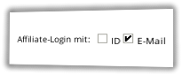 Screenshot Affiliate-Login mit: E-Mail im Admin-Menüpunkt Optionen