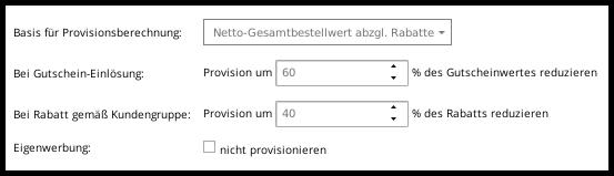 Basis für Provisionsberechnung: Netto-Gesamtbestellwert abzgl. Rabatte mit Reduzierung der Provision