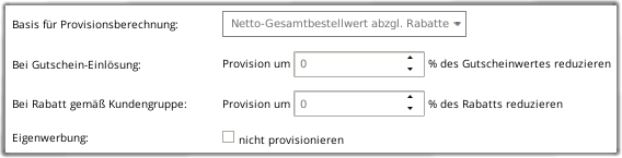 Basis für Provisionsberechnung: Netto-Gesamtbestellwert abzgl. Rabatte