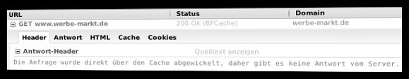 Firebug-Meldung: Die Anfrage wurde direkt über den Cache abgewickelt, daher gibt es keine Antwort vom Server.