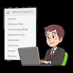 Screenshot Affiliate-Modul für Gambio und Geschäftsmann am Laptop