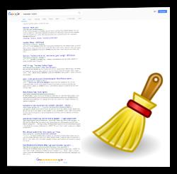 Screenshot Google Suchergebnis und Besen