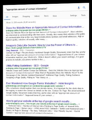 Screenshot Google-Suchergebnis appropriate amount of contact information