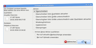 Upload .htaccess-Datei aus Backup-Verzeichnis via FileZilla