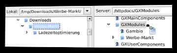 Verzeichnis Werbe-Markt inklusive Verzeichnis Ladezeitoptimierung via FileZilla auf den Server übertragen
