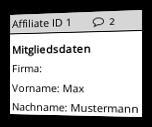 Affiliate-ID gefolgt von Sprechblasen-Icon und Mitgliedsdaten