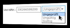 Eingabefeld Ust-IdNr. und Status-Auswahl ungeprüft, ungültig, gültig