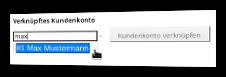 Auswahl eines Kundenkontos zur Verknüpfung mit dem Affiliate-Account