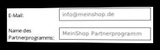 Eingabefelder für E-Mail und Name des Partnerprogramms im Admin-Menüpunkt Optionen
