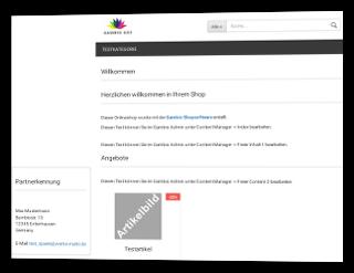 Screenshot Gambio-Onlineshop mit eingeblendeter Partnerkennung