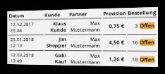 Tabelle offener Bestellungen mit Bestelldatum, Name des Kunde und des Partners, Provision, Status und Link zur Bestellung
