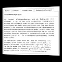 Screenshot des aktiven Reiters Teilnahmebedingungen