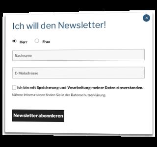 Popup Maker Modal mit Radiobuttons für Auswahl von Mann oder Frau, Texteingabefelder für Nachname und E-Mail-Adresse sowie Button Newsletter abonnieren