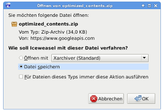 Download optimized_contents.zip von PageSpeed Insights