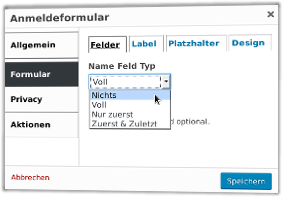Popup Maker Anmeldeformular: Name Feld Typ: Nichts