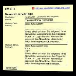 Angabe der Newsletter-Vorlage im Admin-Menü