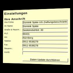 Eingabefelder für Ihre Anschrift: Ihre Firma, Ihr Name, Straße & Hausnr., PLZ, Ort, Telefon, Fax, Steuernr., UstID