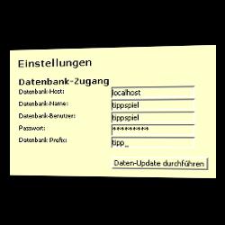 Datenbank-Zugangsdaten im Admin-Menü eintragen: Datenbank-Host, Datenbank-Name, Datenbank-Benutzer, Passwort, Datenbank Prefix