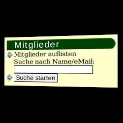 Mitglieder auflisten oder Suche nach Name/eMail