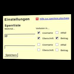 Sperrliste mit der Angabe eines Merkmals und an welcher Stelle das Merkmal verboten ist, z.B. Überschrift, E-Mail-Adresse etc.