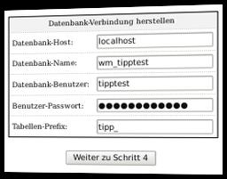 Datenbank-Verbindung herstellen: Datenbank-Host, Datenbank-Name, Datenbank-Benutzer, Benutzer-Passwort, Tabellen-Prefix