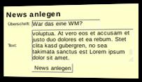 News anlegen Formular mit Überschrift und Text