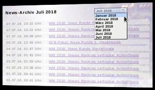 News-Archiv mit Auswahlmöglichkeit nach Monat