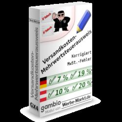 Versandkosten-Mehrwertsteuerausweis korrigiert MwSt.-Fehler - Modul für Gambio GX3
