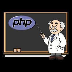 Professor erklärt anhand von PHP-Logo auf einer Tafel