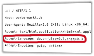 HTTP-Request-Header mit Accept-Language: de,en-US