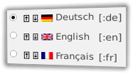 Deutsch, English, Français