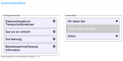 Danke-Seite-Editor im Gambio-Backend: Verfügbare Inhalte links, konfigurierbare Danke-Seite rechts