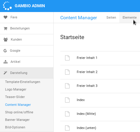 Gambio-Admin: Darstellung > Content Manager > Elemente