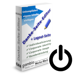Gambio-Modul Danke-Seite-Editor und Logout-Symbol