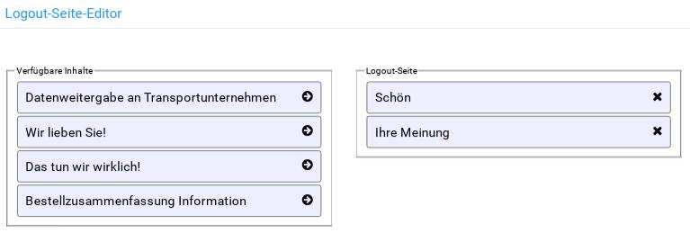 Logout-Seite-Editor: Linke Spalte zeigt verfügbare Inhalte, rechte Spalte Inhalte der Logout-Seite
