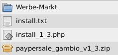 Verzeichnis Werbe-Markt, Dateien install.txt, install_1_3.php, paypersale_gambio_v1_3.zip