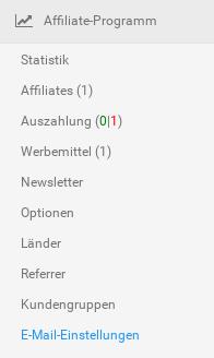 Menübox Affiliate-Programm im Gambio-Backend mit aktiviertem Menüpunkt E-Mail-Einstellungen