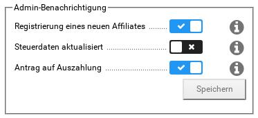 Admin-Benachrichtigung: Registrierung eines neuen Affiliates, Steuerdaten aktualisiert, Antrag auf Auszahlung