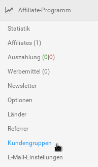 Kundengruppen in der Menübox Affiliate-Programm