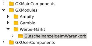 Verzeichnisstruktur in FileZilla: GXModules/Werbe-Markt/GutscheinanzeigeImWarenkorb