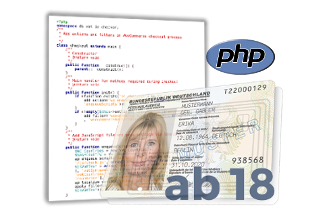PHP-Script, Muster-Personalausweis mit ab18-Schriftzug und PHP-Logo