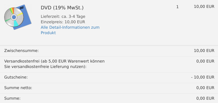 DVD für 10,00 EUR im Warenkorb, Versandkostenfrei, Gutscheine: -10,00 EUR, keine MwSt.-Zeile