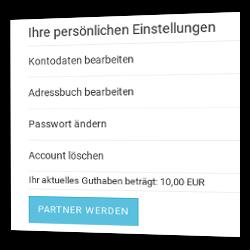 """""""Partner werden""""-Link in Gambio-Seite """"Ihr Konto"""""""