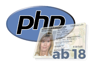 Muster-Personalausweis, PHP-Logo, ab 18