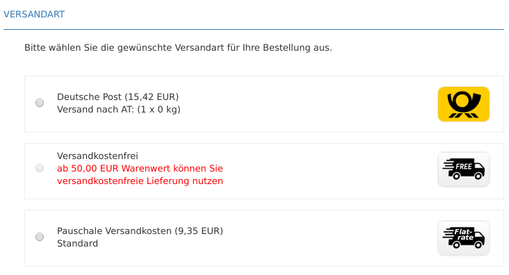 Versandart-Auswahl im Gambio-Checkout mit Pauschale Versandkosten (9,35 EUR)