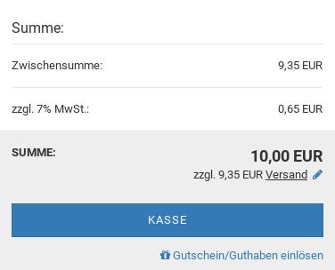 Summe im Gambio-Warenkorb: Summe 10,00 EUR zzgl. 9,35 EUR Versand