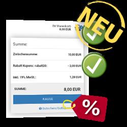 Neu: Zwischensumme: 10,00 EUR, Rabatt Kupons: - 2,00 EUR, SUMME: 8,00 EUR
