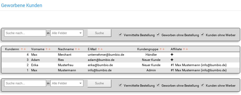 Geworbene Kunden im Gambio-Backend mit Tabelle: Kundennr., Vorname, Nachname, E-Mail, Kundengruppe und Affiliate
