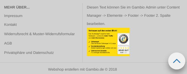 Gambio-Footer mit Impressum, Kontakt, AGB etc. und einem Gütesiegel als Grafik