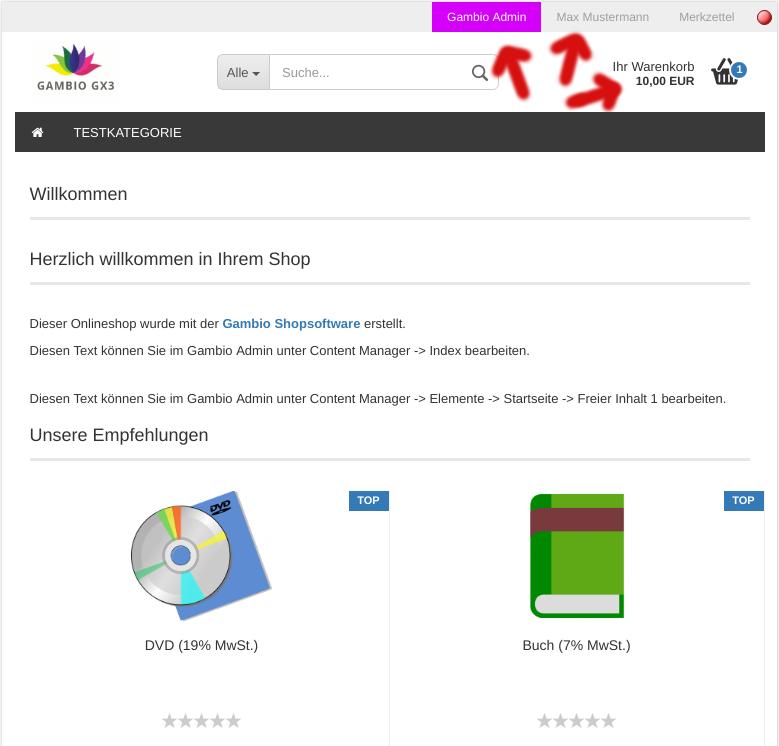 Startseite des Gambio-Onlineshops mit Link in dem Gambio Admin, Name des Kunden und Mini-Warenkorb